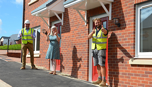 Tom Parry, Project Manager and Paul Butler, Construction Manager at Butlerwall homes with Sara Walton from Two Rivers Housing